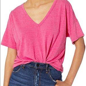 Seam Detail Burnout V-Neck T-Shirt